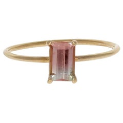 Raye Ring, Bi Color Tourmaline 14 Karat Yellow Gold