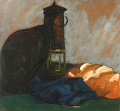 Still Life Oil Painting - The Lantern & The Hat