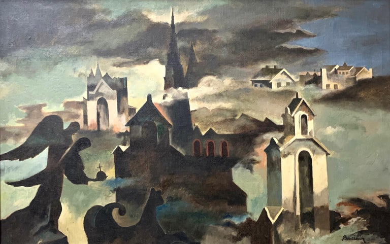 American expressionist oil on canvas painting titled 'The Engulfed Cathedral', painted by Raymond Breinin (1910-2000) in 1942. The piece is inspired by Claude Debussy's 'La Cathedrale Engloutie'. Signed by the artist in the lower right corner and