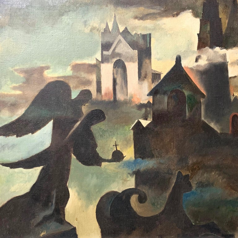 American Raymond Breinin 'The Engulfed Cathedral' Expressionist Oil on Canvas For Sale