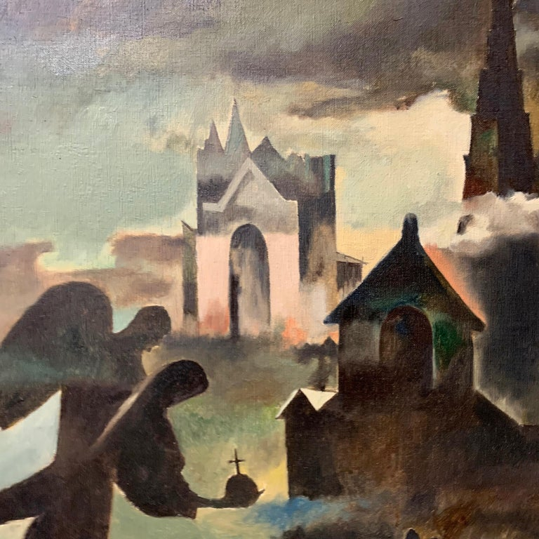 Hand-Carved Raymond Breinin 'The Engulfed Cathedral' Expressionist Oil on Canvas For Sale