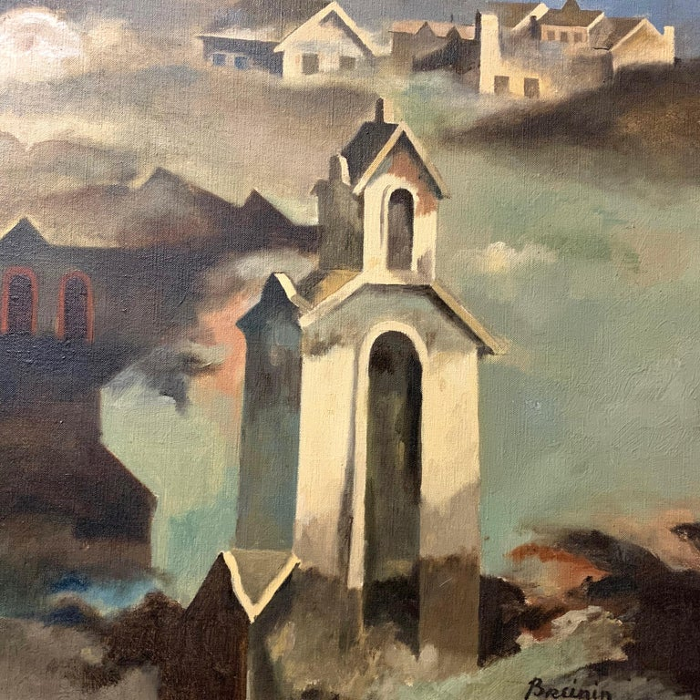 Mid-20th Century Raymond Breinin 'The Engulfed Cathedral' Expressionist Oil on Canvas For Sale