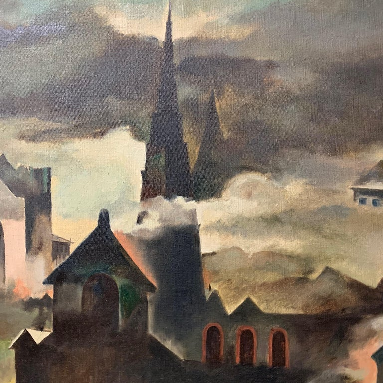 Raymond Breinin 'The Engulfed Cathedral' Expressionist Oil on Canvas For Sale 3