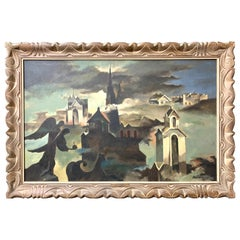 Raymond Breinin 'The Engulfed Cathedral' Expressionist Oil on Canvas