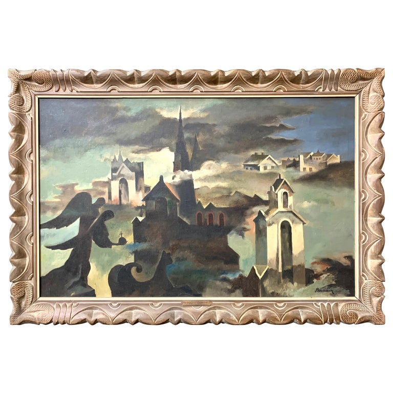 Raymond Breinin 'The Engulfed Cathedral' Expressionist Oil on Canvas For Sale