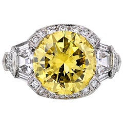 Raymond C. Yard 5 Carat Round Diamond Fancy Intense Yellow GIA Engagement Ring