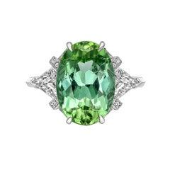 Raymond C. Yard 6.09 Carat Mint Tourmaline and Diamond Ring