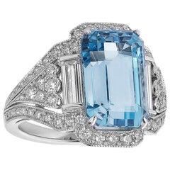 Raymond C. Yard 6.16 Carat Aquamarine and Diamond Cocktail Ring