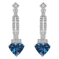 Raymond C. Yard Aquamarine and Diamond Pendant Earrings