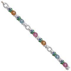 Raymond C. Yard Multicolored Gemstone and Diamond Flower Bracelet