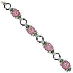 Raymond C. Yard Pink Tourmaline, Tsavorite and Diamond Flower Bracelet