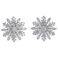 Raymond C. Yard Platinum and Diamond Snowflake Earclips