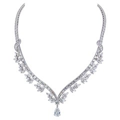 Raymond C. Yard Platinum Baguette and Marquise Cut Diamond Necklace
