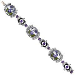 Raymond C. Yard Rock Crystal Flower, Diamond and Amethyst Bracelet