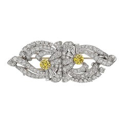 Raymond C. Yard White and Yellow Diamond Double Clip Brooch