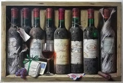 """""""Octet of Wine Bottles with Letters and Grapes"""", still life, original Oil/ wood"""