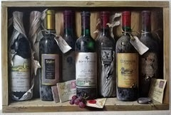 """""""Octet of Wine Bottles with Letters, Grapes"""", still life, Oil on Wood"""