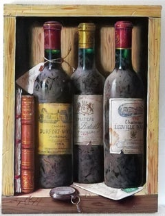 """""""Trio of Wine Bottles with Pocket Watch and Book"""", still life, oil on wood"""