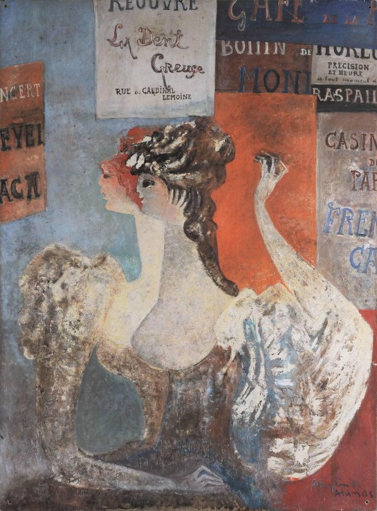"Raymond Dauphin ""Composition"" 1972 Oil on Panel Modern Art Decorative"