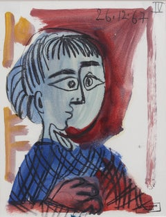 'Portrait of a Child' by Raymond Dèbieve, Mid-Century Cubist Painting, 1967