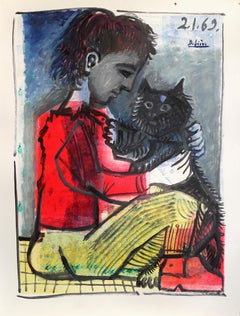 Cat and boy , Raymond Debiève, unique piece, printer's and oil paint on paper