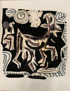 Flutist and goat in the night - Raymond Debiève, unique piece, monotype