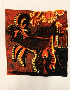 Flutist and goat in the sun - Raymond Debiève, unique piece, monotype
