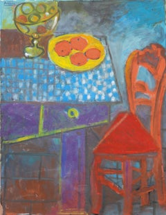 Four oranges and red chair, unique piece, oil paint on paper, 1997