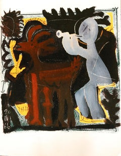 Grey flutist and small goat - Raymond Debiève, unique piece, monotype