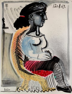 In the chair, unique piece, printer's ink and oil paint on paper