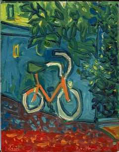 Le vélo orange, Oil painting, Contemporary, French Artist Late 20th Century