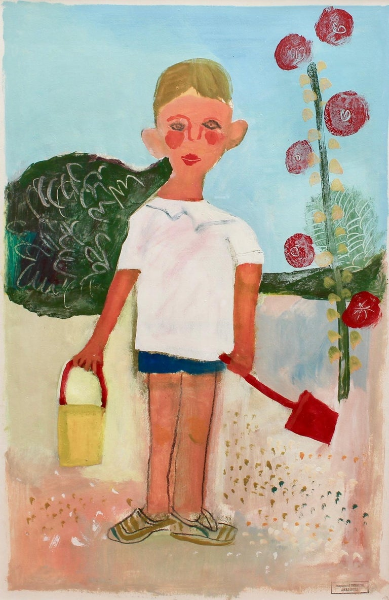 'Portrait of Boy with Pail and Shovel', mixed media on fine paper (circa 1960s) by Raymond Dèbieve. This is a warm and sympathetic portrait of a young boy, very likely the artist's son, Vincent, who was born in 1958. The boy's wide ears, pale skin