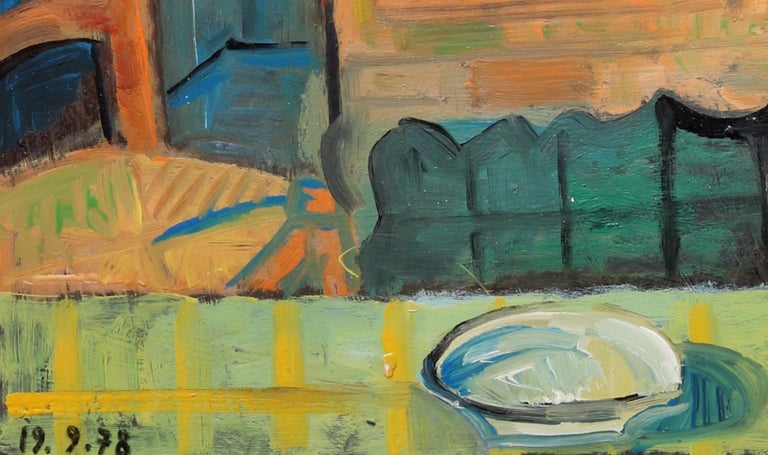 The buffet, unique piece, oil paint on paper, 1978 - Contemporary Painting by Raymond Debieve