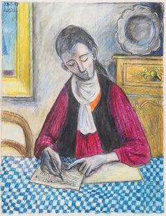 The composer, Raymond Debiève, unique piece, oil pastel on paper, 1989