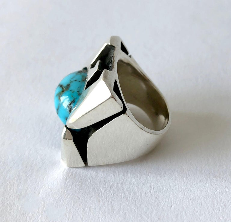 Artisan Raymond Graves Sterling Silver Turquoise Thunderbird Ring For Sale