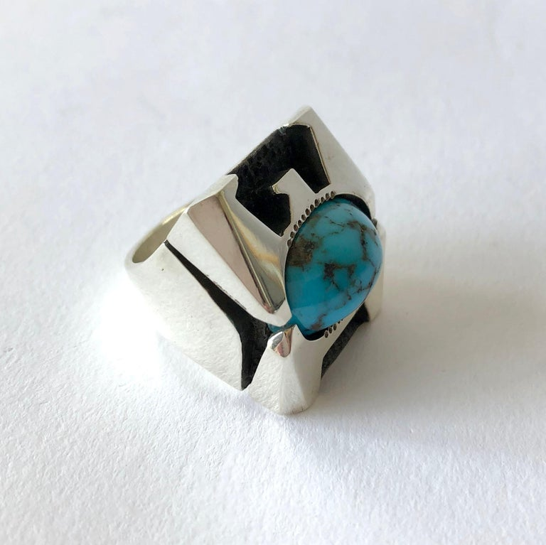 Raymond Graves Sterling Silver Turquoise Thunderbird Ring In Good Condition For Sale In Los Angeles, CA