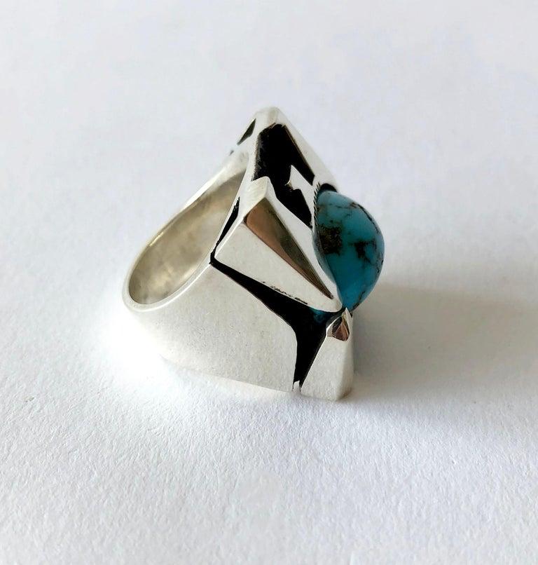 Women's or Men's Raymond Graves Sterling Silver Turquoise Thunderbird Ring For Sale