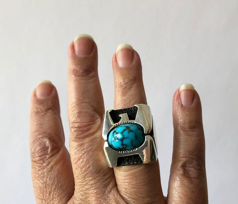 Raymond Graves Sterling Silver Turquoise Thunderbird Ring For Sale 2