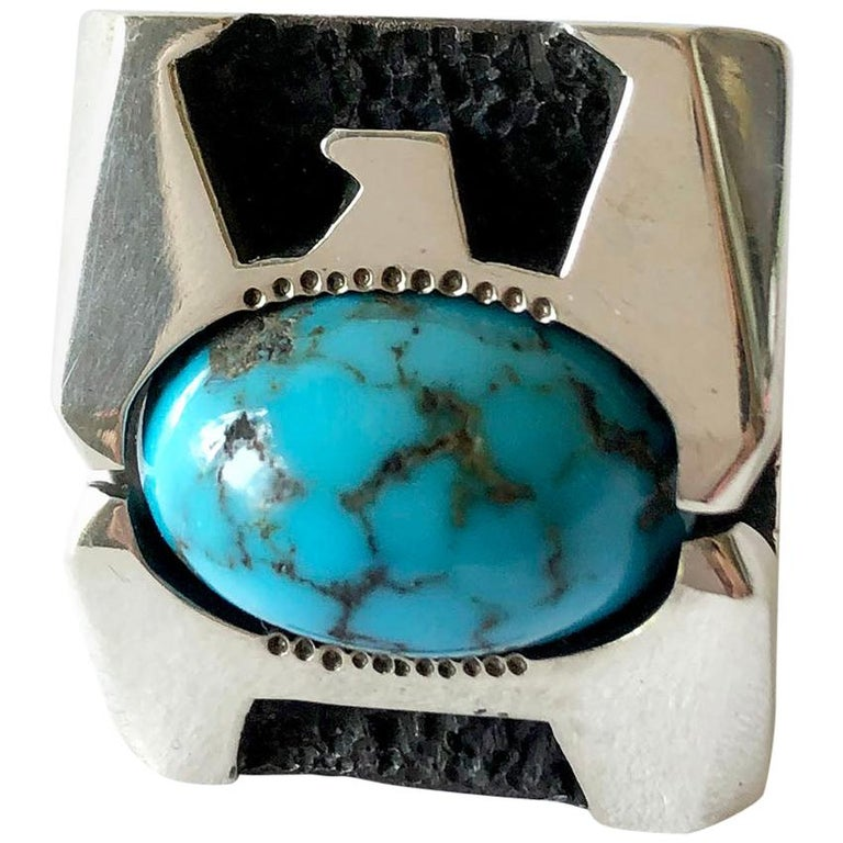 Raymond Graves Sterling Silver Turquoise Thunderbird Ring For Sale