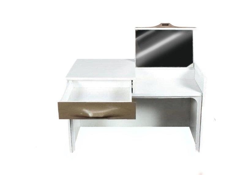 French Raymond Loewy DF-2000 Modern Vanity Flip-Top Table Desk Doubinsky & Freres 1960s For Sale