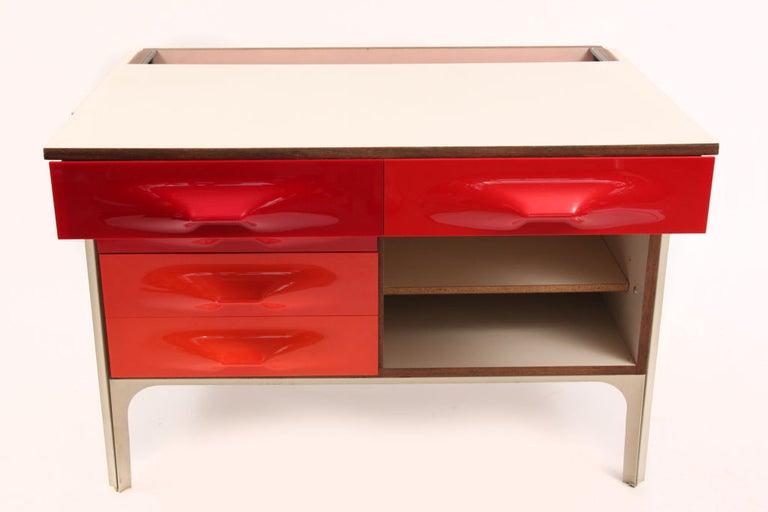 Mid-Century Modern Raymond Loewy for Doubinsky Freres Red & Orange DF 2000 Chest / Slide Desk For Sale