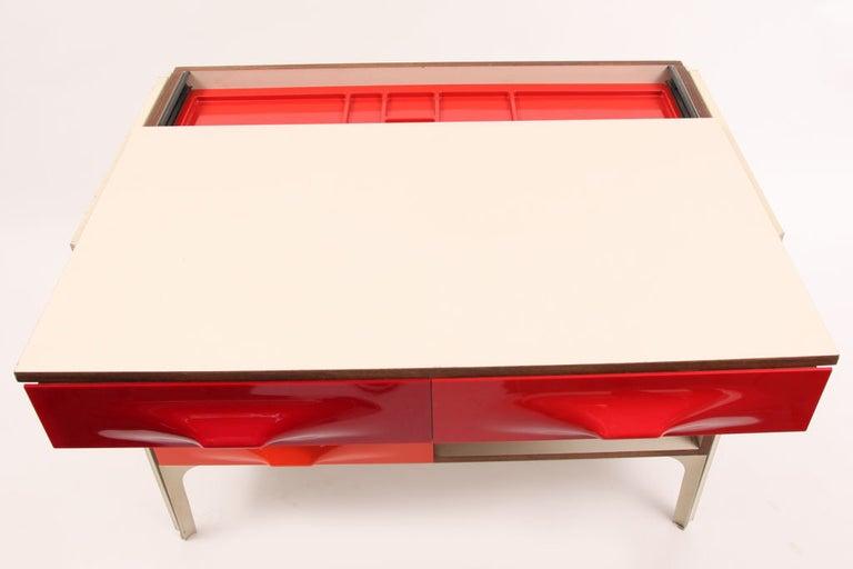 French Raymond Loewy for Doubinsky Freres Red & Orange DF 2000 Chest / Slide Desk For Sale
