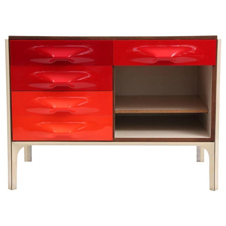 Raymond Loewy for Doubinsky Freres Red & Orange DF 2000 Chest / Slide Desk For Sale