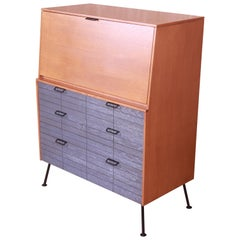 Raymond Loewy for Mengel Drop Front Secretary Desk on Iron Legs, Refinished