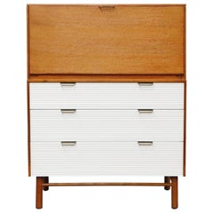 Raymond Loewy for Mengel Highboy Secretary Dresser, circa 1955, Restored, Signed