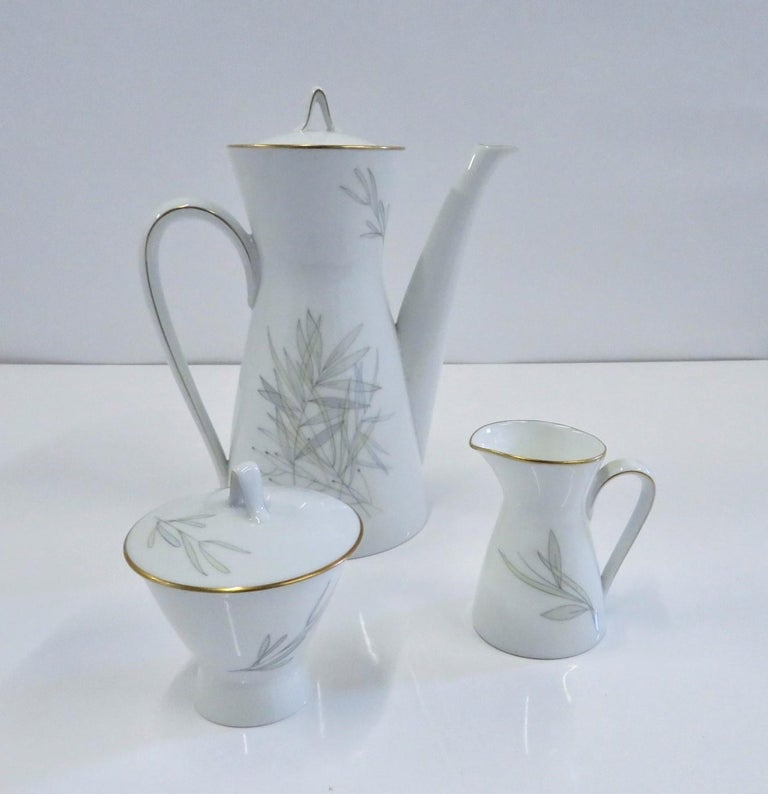 Mid-Century Modern Raymond Loewy for Rosenthal Germany Modern Grasses Pattern Coffee Service 3 Pcs For Sale
