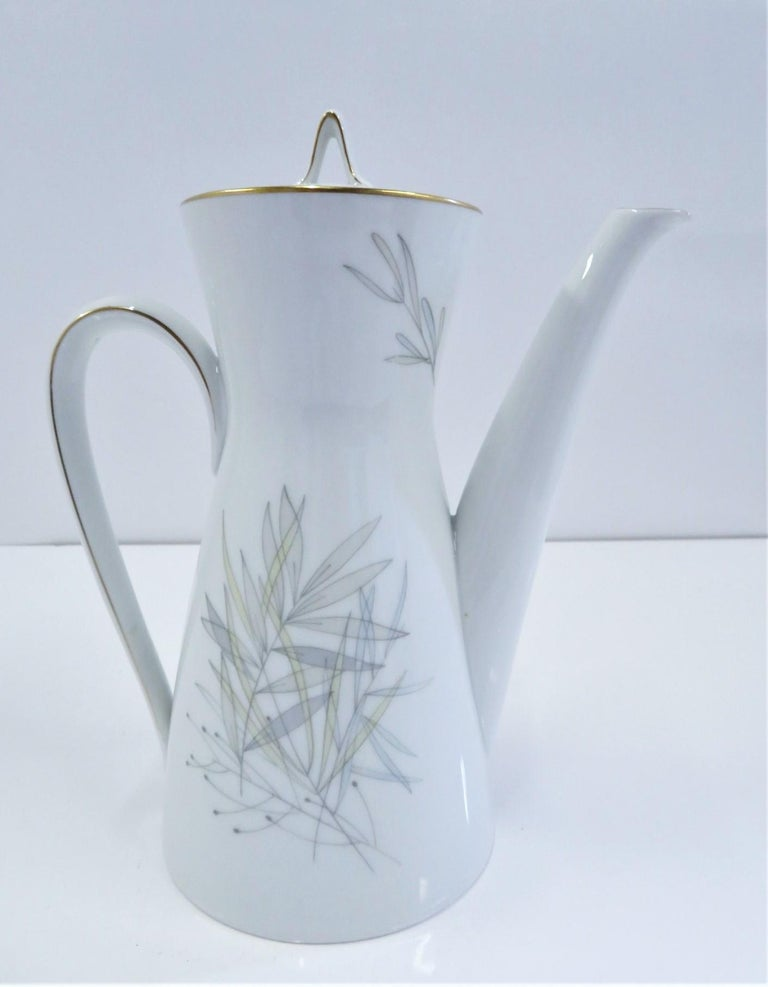Ceramic Raymond Loewy for Rosenthal Germany Modern Grasses Pattern Coffee Service 3 Pcs For Sale