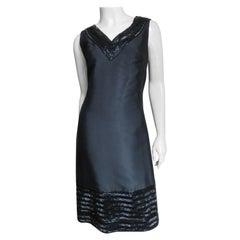 Raymond Martier Silk Dress with Bead Trim 1960s