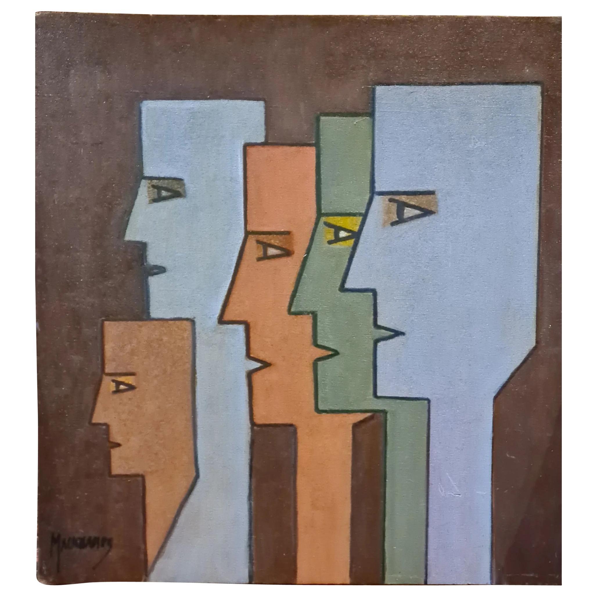 Raymond Mauchamps 'XX-XXI' Composition Aux 5 Visages