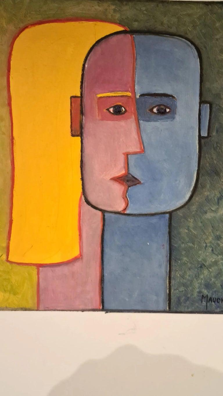 Raymond MAUCHAMPS (XX-XXI) composition aux deux visages oil on panel.
